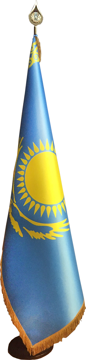 Flag of Kazakhstan with a fringe on a stand with a tip