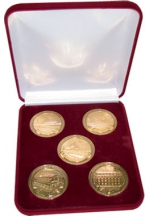 'Stations of Donetsk railway' medals set in a velvet case