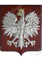 Coat of arms of Poland on a wooden base