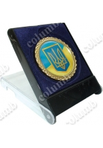 'Small coat of arms of Ukraine' standard formed medal 'galactica' in a plastic case