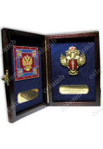 A set of symbols of the Federal Drug Control Service of the Russian Federation in a wooden case (flag + coat of arms)