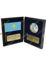 Set of symbols of Kazakhstan in a wooden case (flag + coat of arms)