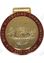"Medal on the tape ""WORLD KICKBOXING CHAMPIONSHIP"" Kiev 2018  gold"